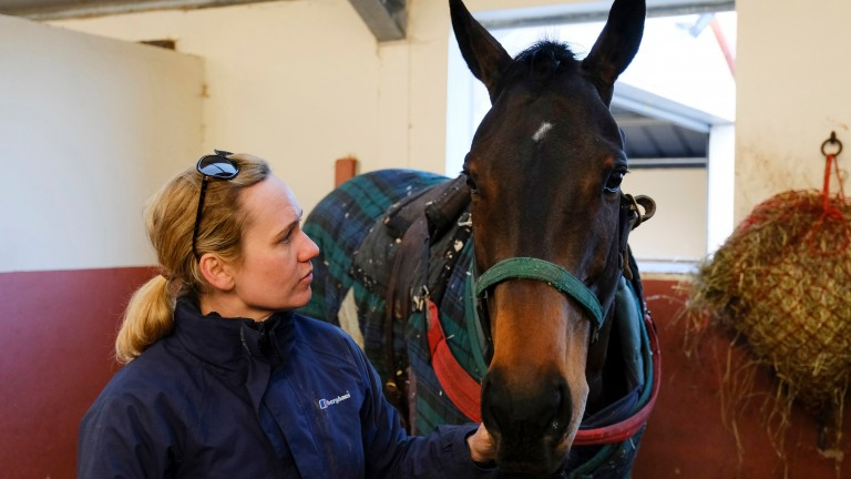 Ruth Jefferson with Waiting Patiently at her Malton stable on Monday