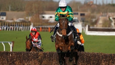 Barry Geraghty riding Ok Corral clear the last to win The Mayfield Sussex Hop Gin Novices' Chase