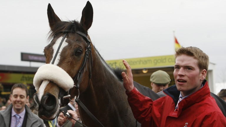 Nick Child (right) with Kauto Star after the 2009 Cheltenham Gold Cup