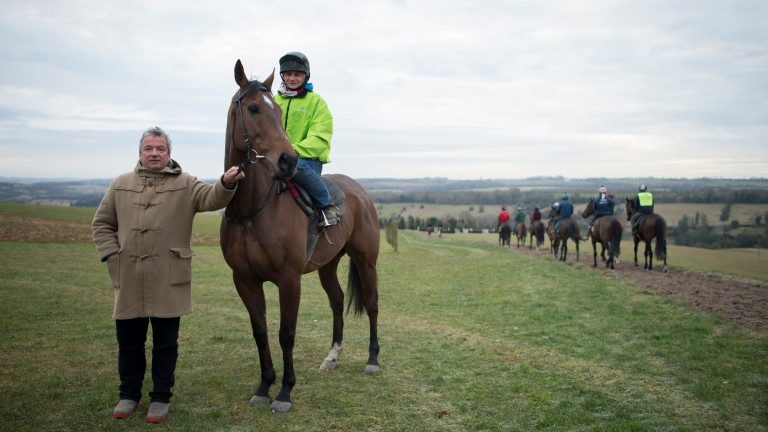 Wayne Jones pictured aboard The New One on the gallops at Grange Hill Farm