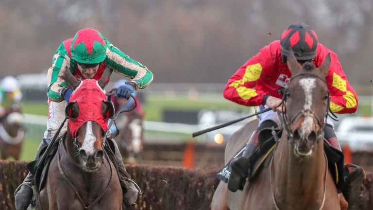 DAKLONDIKE Ridden by Tom Scudamore (Green & Red ) wins at Haydock 22/12 /18 Photograph by Grossick Racing Photography 0771 046 1723