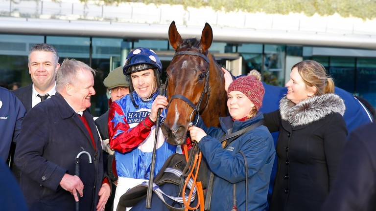 Andrew Gemmell with Paisley Park and the horse's team following last year's Long Walk Hurdle