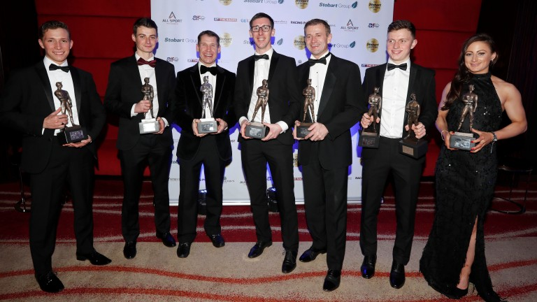 The Lesters award winners of Jason Watson Eoin Walsh Richard Johnson George Baker Andrew Thornton James Bowen and Nicola CurrieThe Stobart Lesters 22.12.18Pic Dan Abraham-focusonracing.com