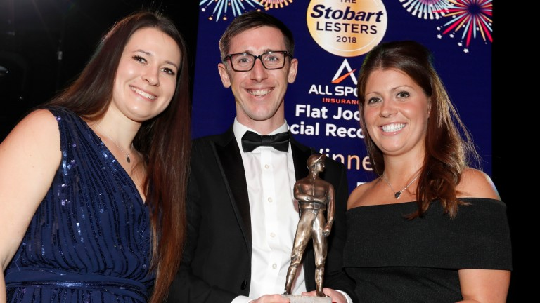 Amy Derham presenting George Baker and wife Nicola with The Flat Special Recognition awardThe Stobart Lesters 22.12.18Pic Dan Abraham-focusonracing.com