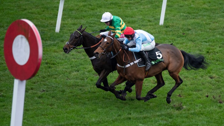 Verdana Blue (near side) gets up on the line to beat Buveur D'Air in the Christmas Hurdle