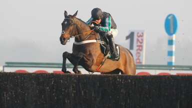Altior: puts in another brilliant leap to win the Desert Orchid Chase