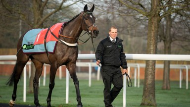 Altior and Robin Lands in the pre-parade ring before the Desert Orchid Chase