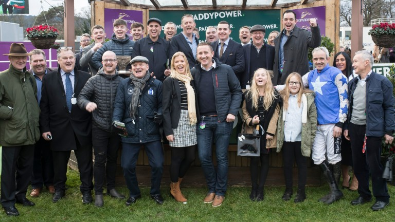 Willie Mullins and Ruby Walsh join the Supreme Racing Club members for the celebrations after Aramon's Future Champions Novice Hurdle victory at Leopardstown
