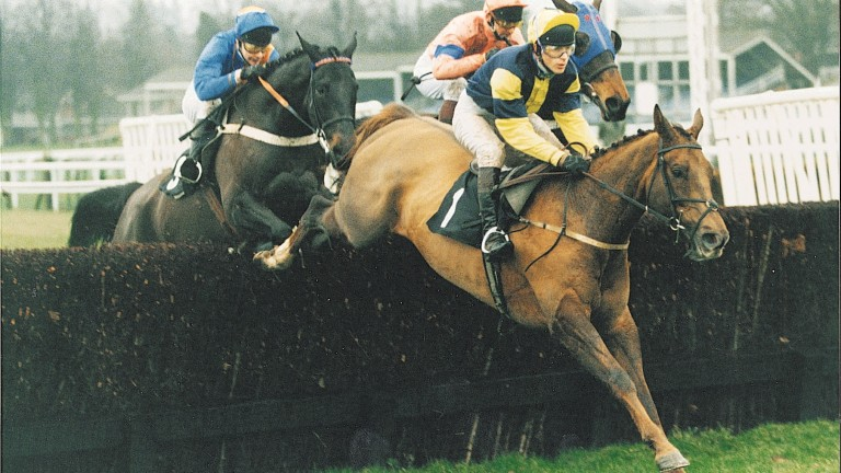 Peter Niven ? on Young Hustler jumping fence during Grand National Horse Racing