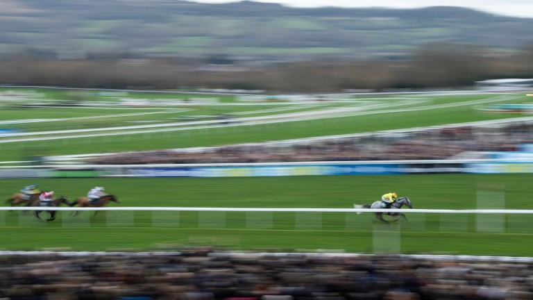 Aux Ptits Soins (Harry Skelton) wins the 3m handicap hurdleCheltenham 1.1.19 Pic: Edward Whitaker