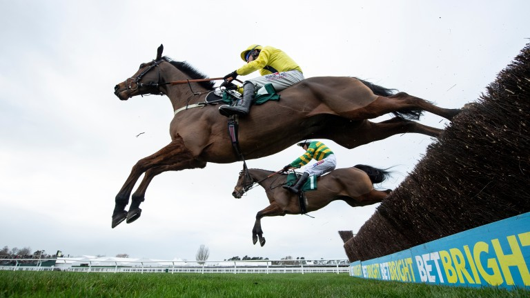 The winner Lostintranslation (Robbie Power) jumps the 2nd last fence ahead of Defi Du Seuil (Barry Geraghty) in the Dipper novices chaseCheltenham 1.1.19 Pic: Edward Whitaker