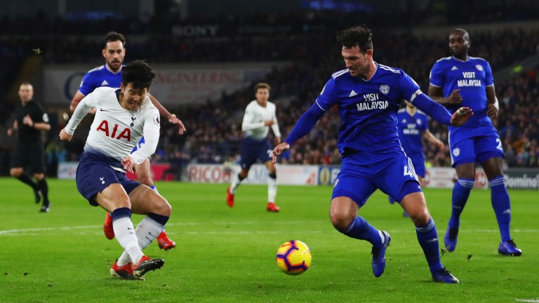 Tottenham's Heung-Min Son scores against Cardiff