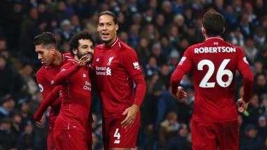 Liverpool celebrate Roberto Firmino's equaliser