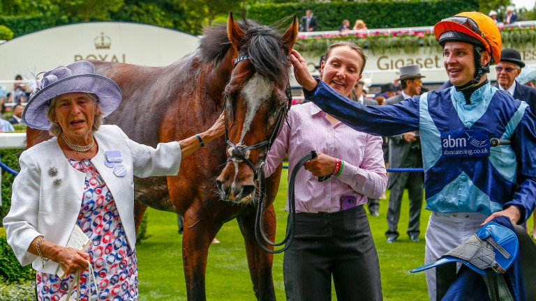 Gaie Johnson Houghton (left) pictured with Accidental Agent after the son of Delegator won the Queen Anne Stakes