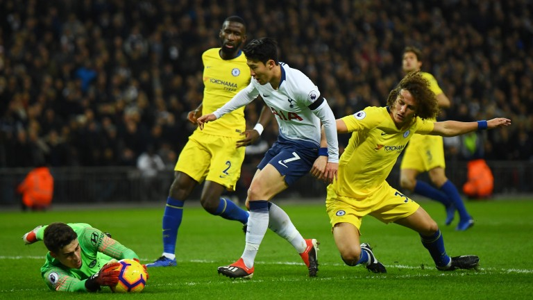 Chelsea''s Kepa Arrizabalaga saves from Heung-Min Son in Spurs' 3-1 Premier League win