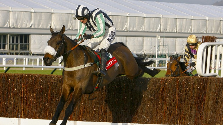 Midnight Chase pulls clear of Tidal Bay to win the Argento Chase at Cheltenham in 2012