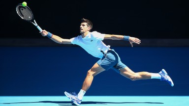 Novak Djokovic gets in some practice at Melbourne Park in the lead-up to this year's championships