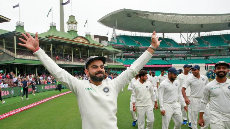Virat Kohli leads India's celebrations after winning the Test series in Sydney