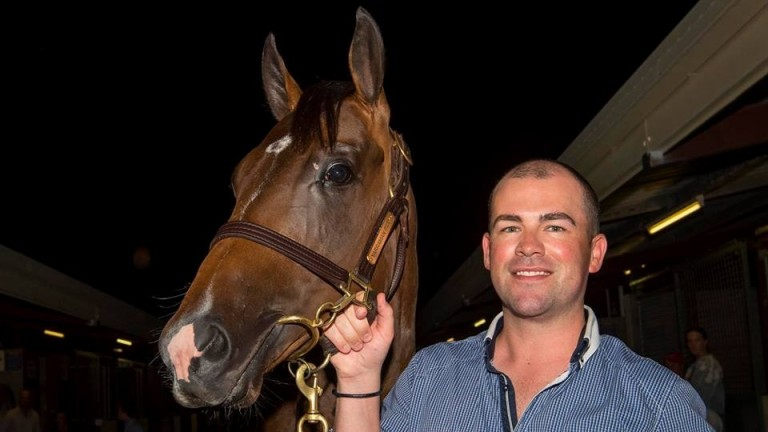 Lloyd Kennewell with his new purchase, a A$1.7m son of I Am Invincible