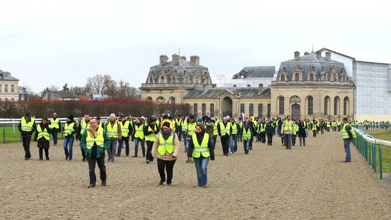 Yellow jacket protesters take to the track at Chantilly on Saturday