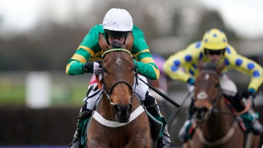 Derek O'Connor riding Ok Corral (green) clear the last to win The McCoy Contractors 2019 Construction News Awards Finalist Hampton Novices' Chase at Warwick  (Photo by Alan Crowhurst)