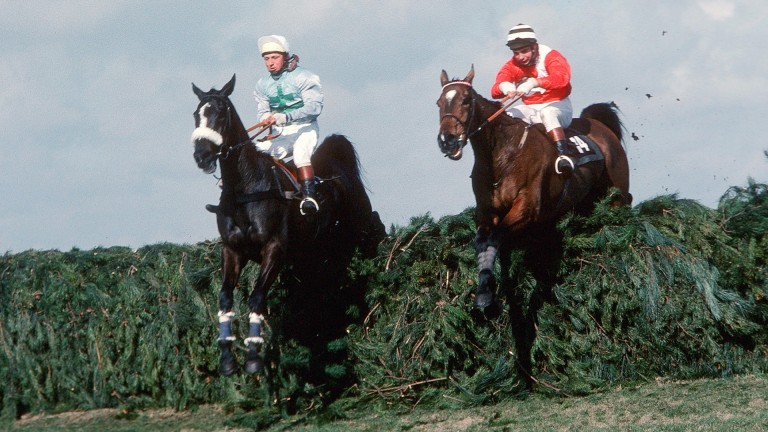 Rubstic (left) jumps the last alongside Zongalero in the 1979 Grand National in which AK Taylor partnered Prime Justice