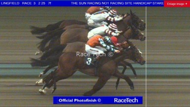 A dead-heat between Forencio (orange) and Highland Acclaim (red and white) in the 7f handicap at Lingfield