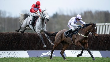The winner The Russian Doyen (Harry Cobden) runs on from the last fence from Charming Zen in the 2m novices handicap chaseNewbury 16.1.19 Pic: Edward Whitaker