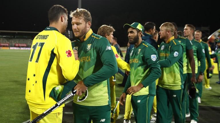 South Africa celebrate clinching victory in November's ODI series win in Australia