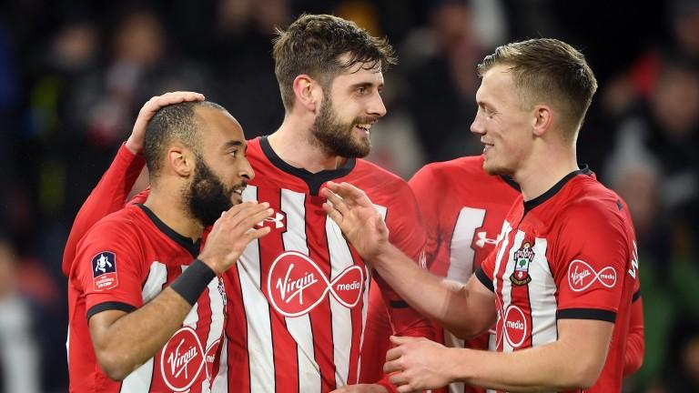 Nathan Redmond celebrates with Southampton teammates