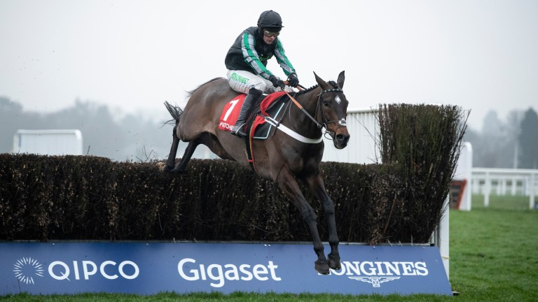 Altior jumps out to his left on the way to a 17th consecutive win in the Clarence House Chase