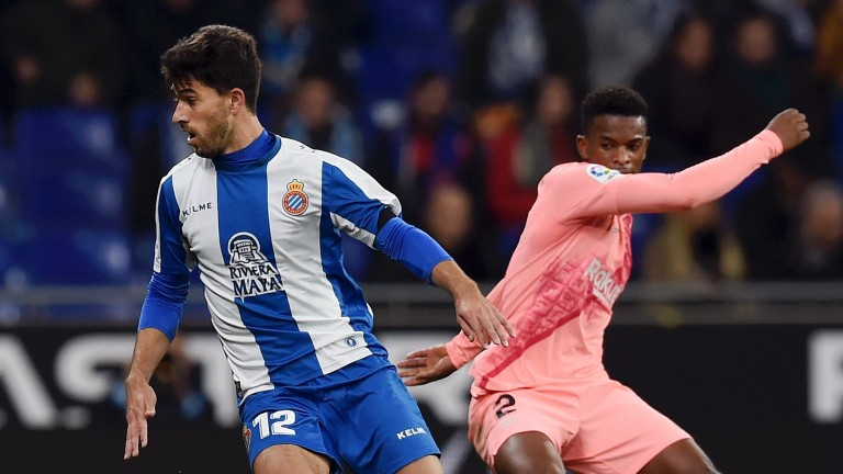 Espanyol defender Didac Vila (left) could have a difficult afternoon against Eibar in La Liga