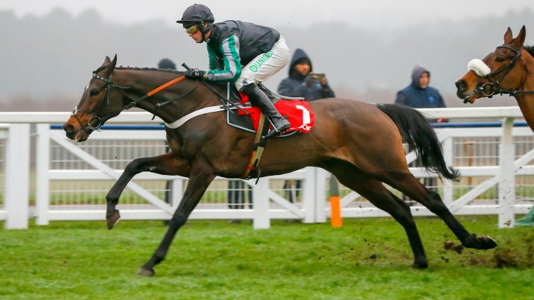Altior and Nico de Boinville on their way to victory in the Clarence House Chase at Ascot