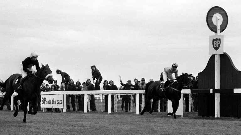 Crisp and Richard Pitman (far side) come agonisingly close to Grand National victory
