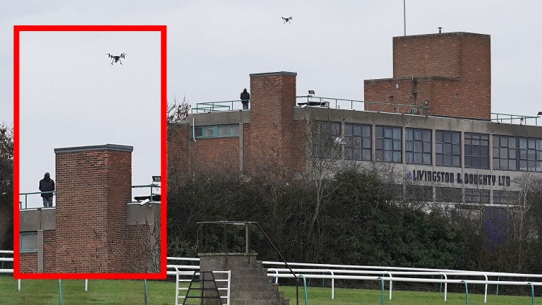 The drone operator with the device spotted over Leicester racecourse on Tuesday