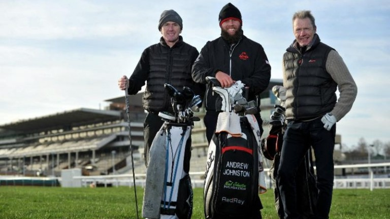 Andrew 'Beef' Johnston (centre) took on Tony McCoy and Mick Fitzgerald in four holes around Cheltenham