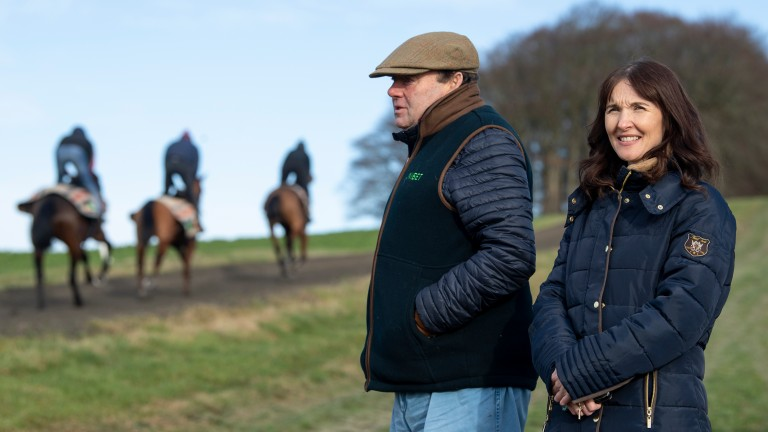 Debbie Matthews with Nicky Henderson on his Seven Barrows slopes
