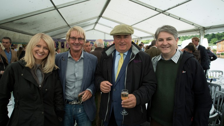 Philip Davies (right) attending Paul Nicholls' owners day in 2017 along with partner and fellow MP Esther McVey (left)