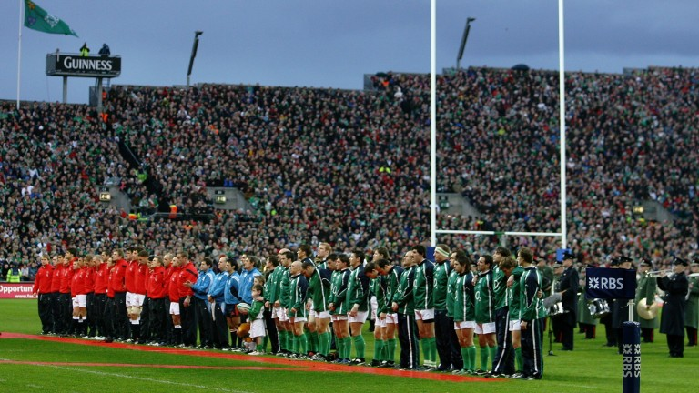 Ireland and England line up at Croke Park, Dublin in 2007