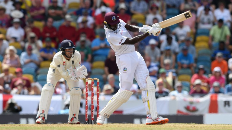West Indies captain Jason Holder thrashed England's bowlers around the Kensington Oval