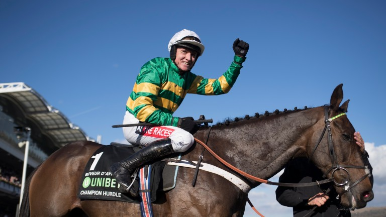 Barry Geraghty punches the air after winning last year's Champion Hurdle on Buveur D'Air
