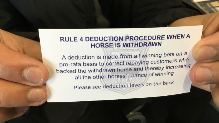 Bookmakers handed out cards at Doncaster on Saturday explaining Rule 4 deductions
