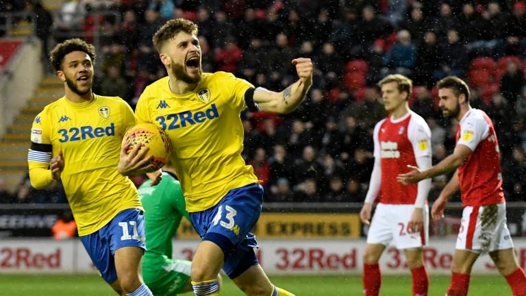 Mateusz Klich of Leeds United celebrates scoring a goal