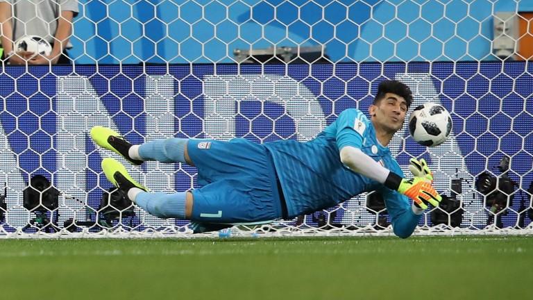 Iran goalkeeper Ali Beiranvand is a long-throw specialist