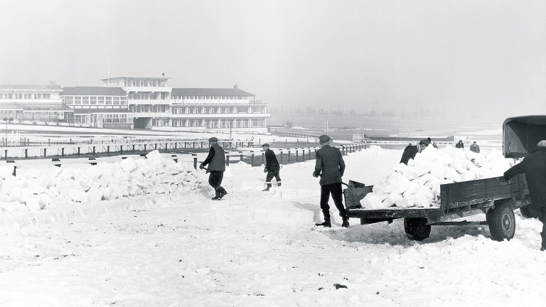 Workers at Cheltenham grapple with the snow. Thankfully the weather had relented by the time the festival took place in March