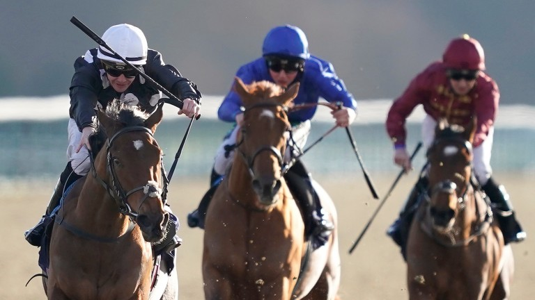 Anapurna (left) hangs right but scores a decisive success at Lingfield