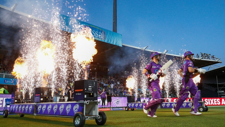 Hobart Hurricanes openers Matthew Wade and D'Arcy Short come out to bat in Launceston