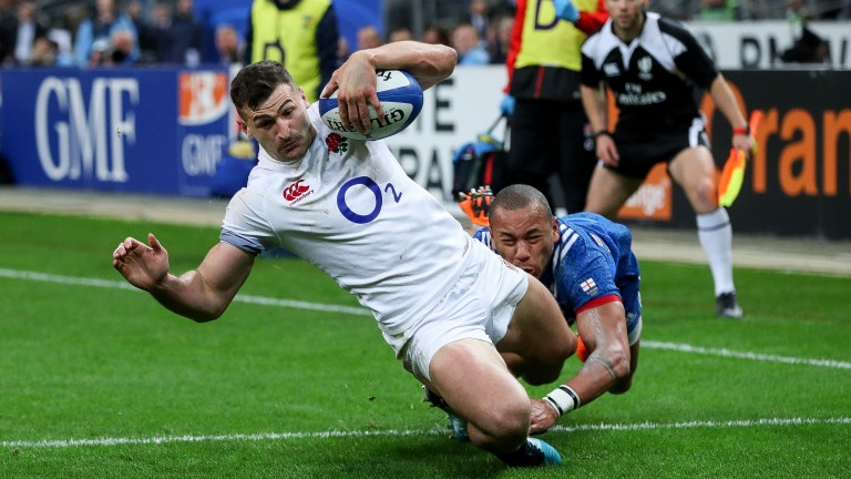Jonny May scored four tries in the 2018 Six Nations including the opener against France