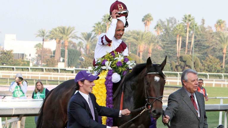 Benjamin Leon (right) leads in his late, much-loved dual Breeders' Cup winner Royal Delta