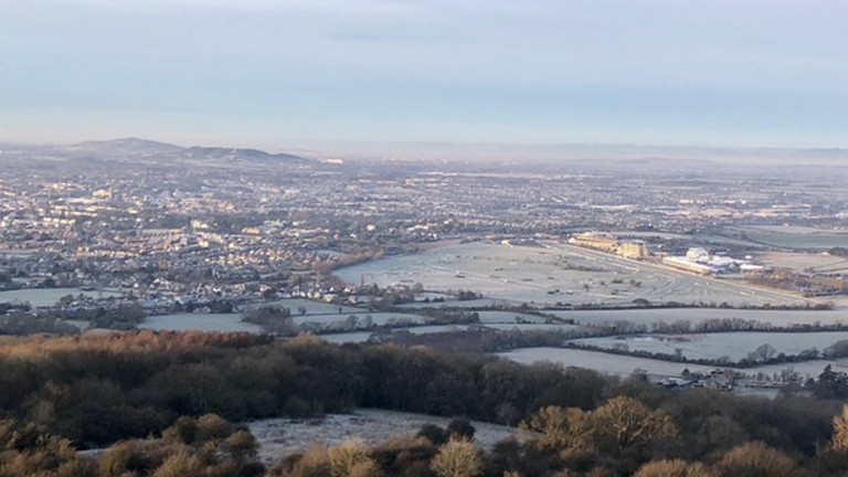 A frosty Cheltenham racecourse on the morning after the coldest night of the year